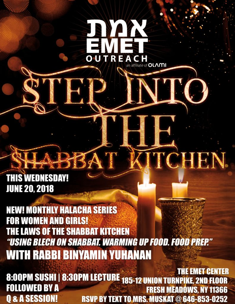 Flyer R Yuhanan Step Into The Shabbat Kitchen