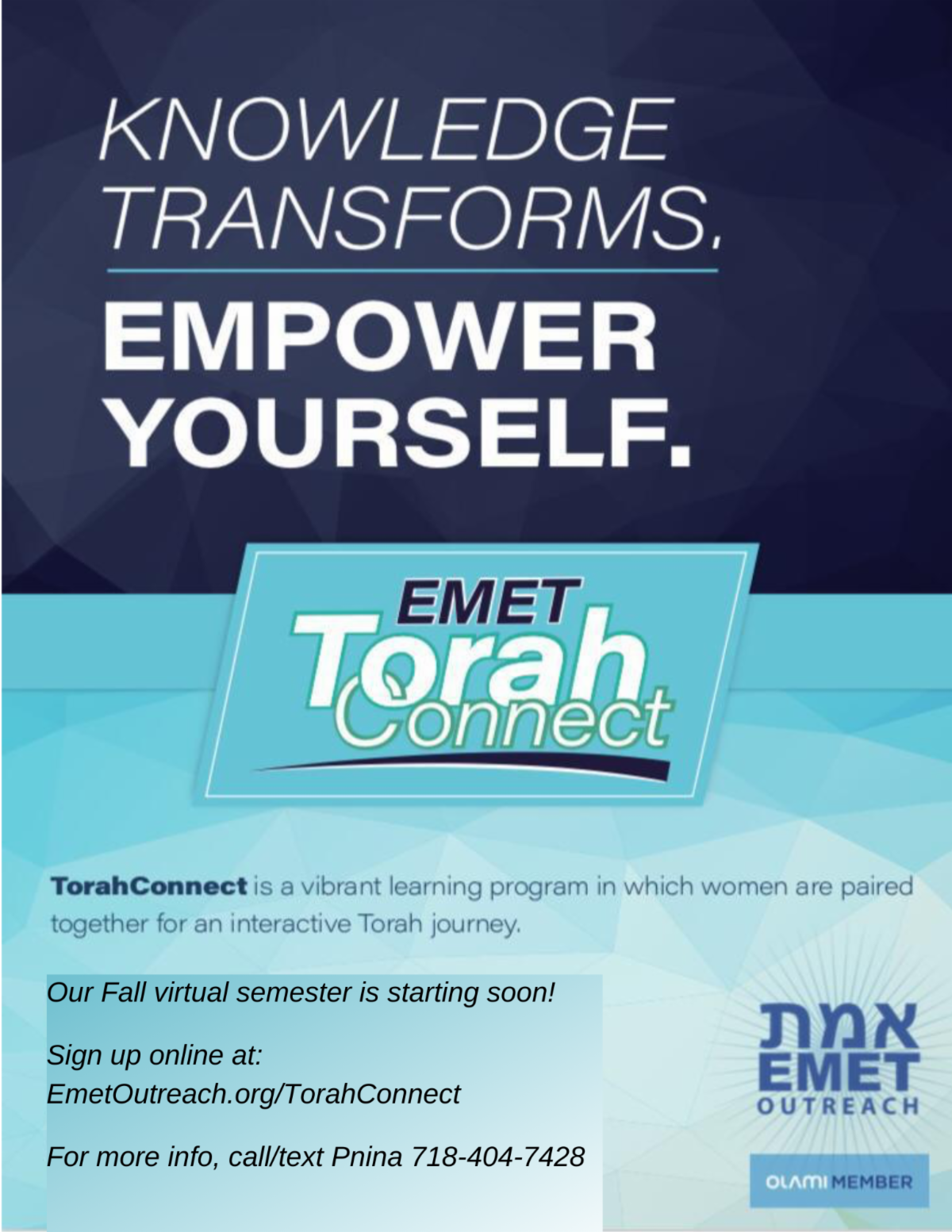 TorahConnect flyer women updated